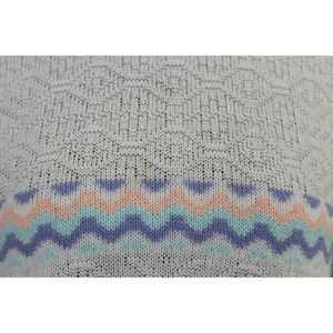 Vintage Sweaters - Vintage Holiday Sweater White Lavender Peach Mint